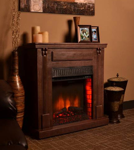 41 7 bond rustic dark wood electric fireplace