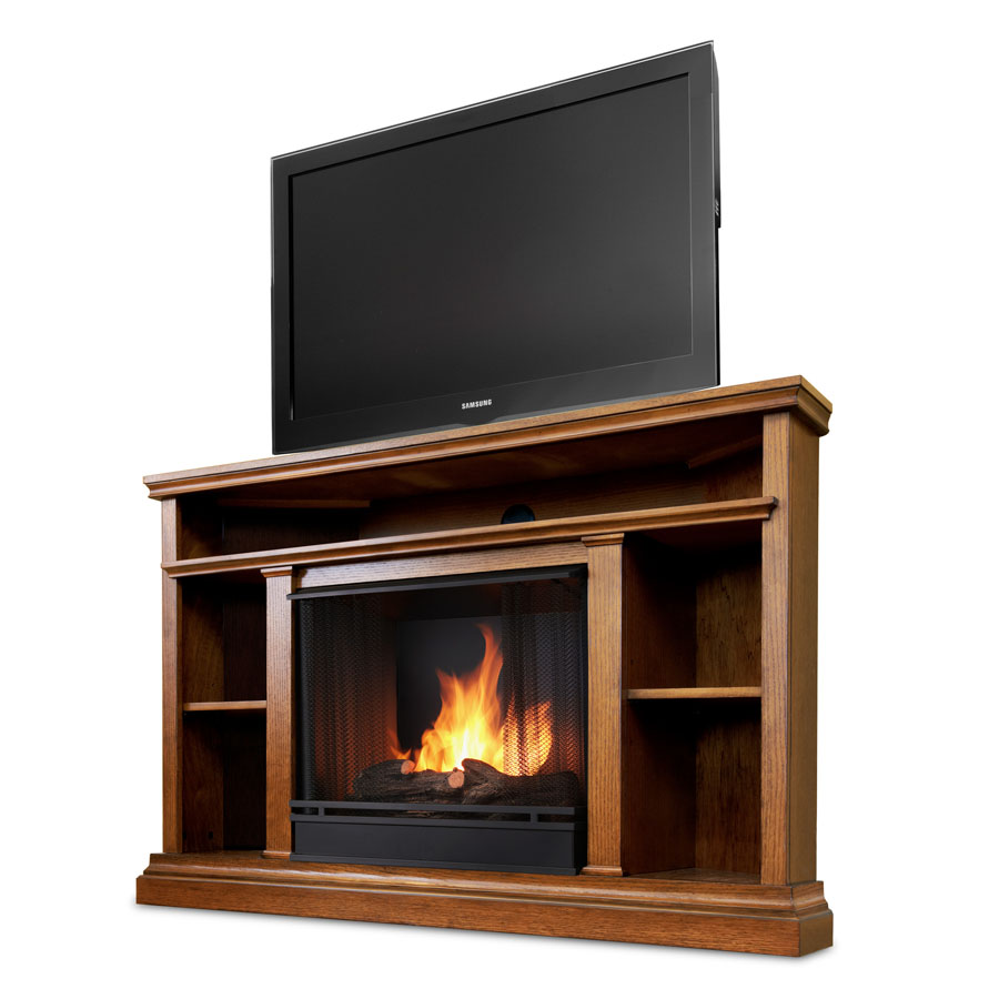 Churchchill Oak Entertainment Center Corner Gel Fireplace