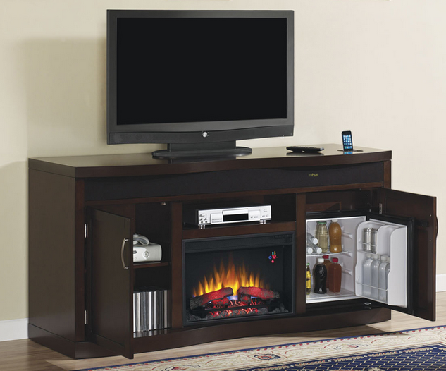 The Endzone Espresso Electric Fireplace Entertainment Center brings every fans dream on game day with everything you need to be in all the action: mini-fridge