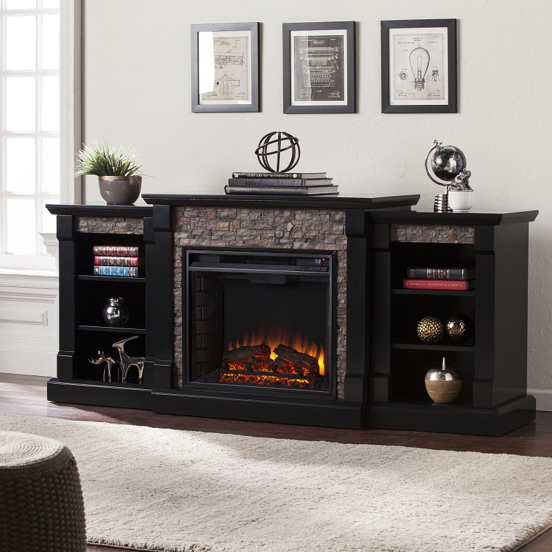 Gallatin Faux Stone Electric Fireplace W Bookcases Black