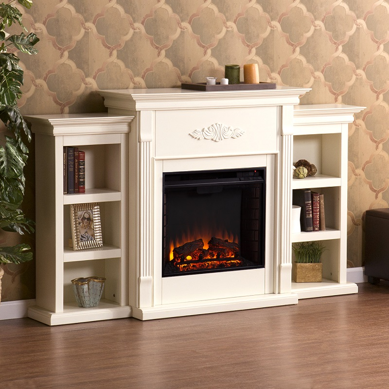 70 25 Tennyson Ivory Electric Fireplace W Bookcases