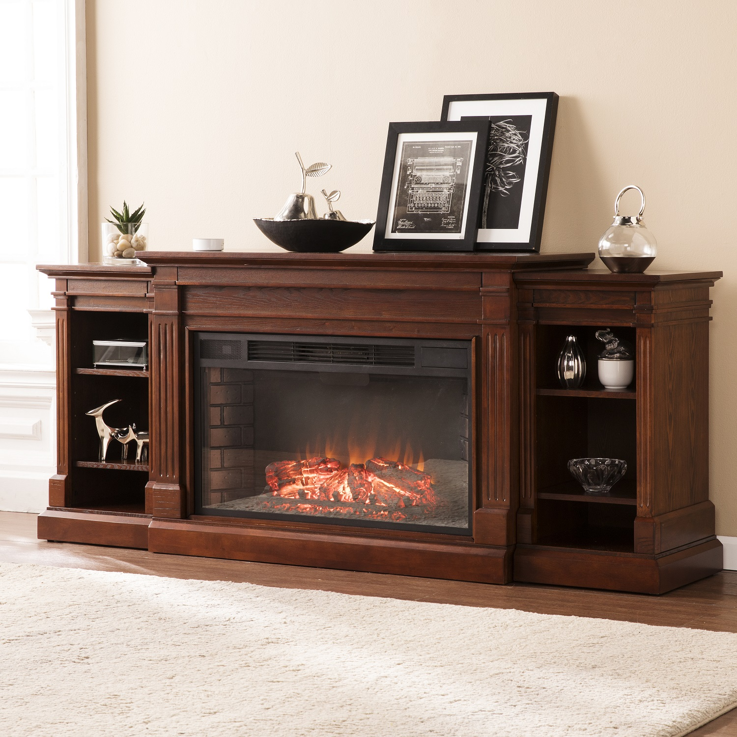 "72"" Reese Widescreen Electric Fireplace w/ Bookcases - Espresso - FE9041"