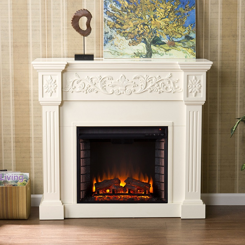44 5 Quot Calvert Carved Ivory Electric Fireplace Fe9279