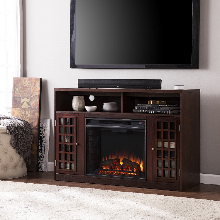 48 Quot Narita Media Electric Fireplace Espresso Or Glazed Pine