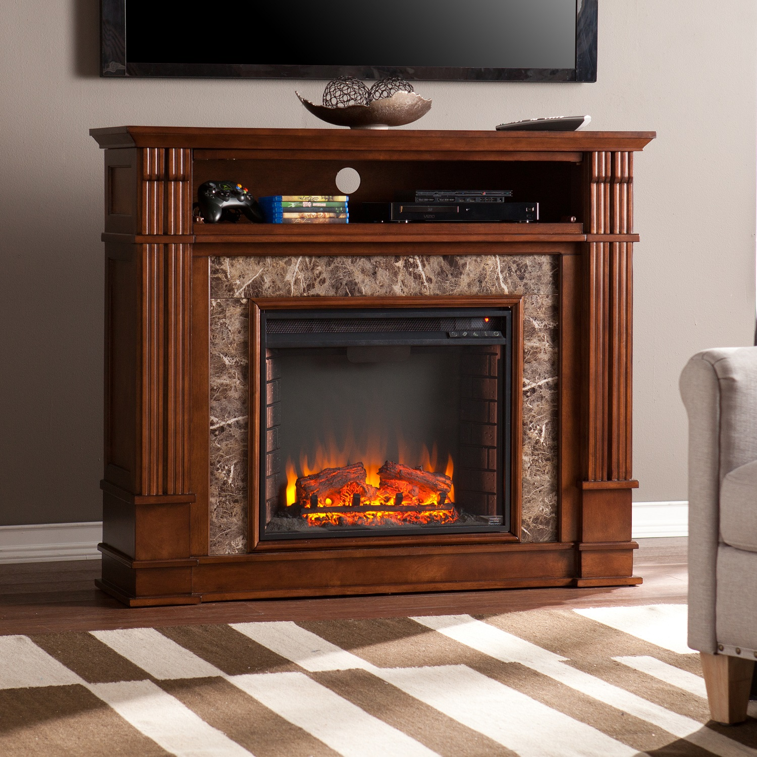 48 Quot Highgate Faux Stone Electric Media Fireplace Whiskey