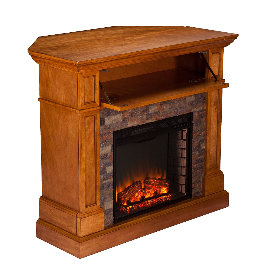 45 5 Quot Rosedale Faux Stone Convertible Electric Media Fireplace