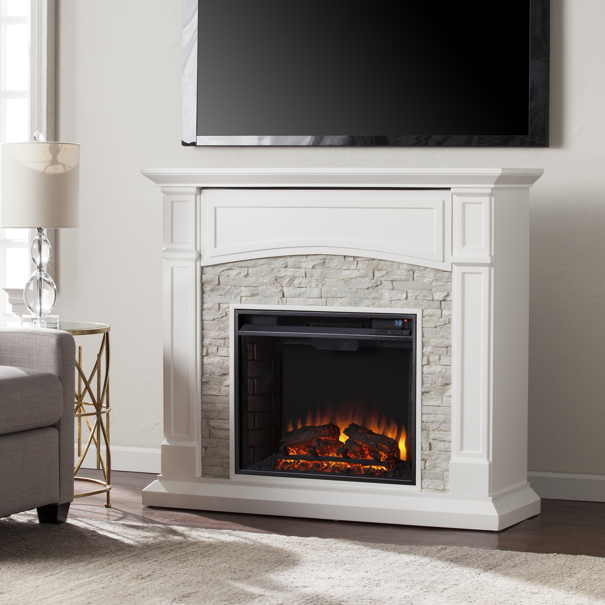 4575 Seneca Electric Media Fireplace White w White Faux Stone