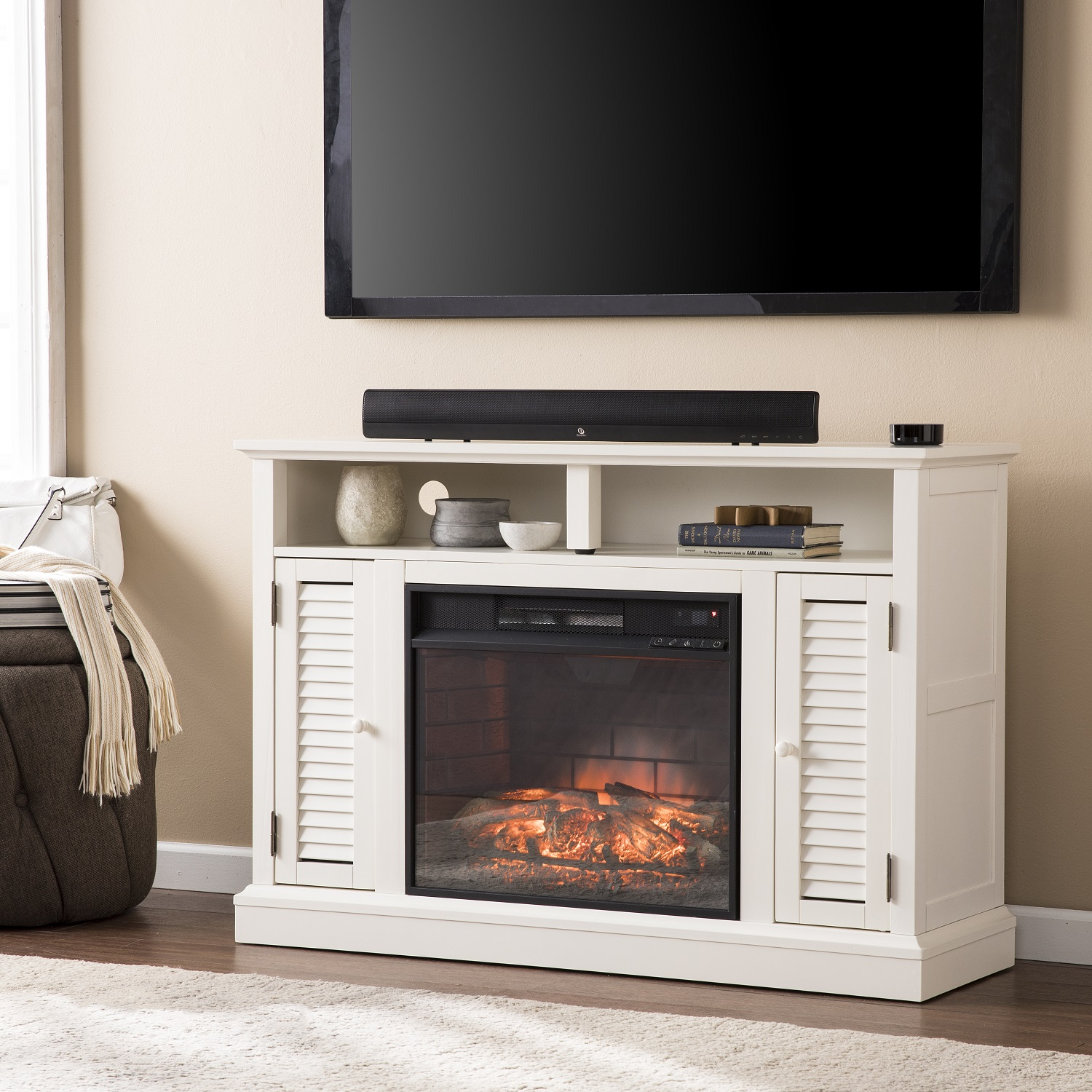 48 Antebellum Media Electric Fireplace Antique White Fe9306