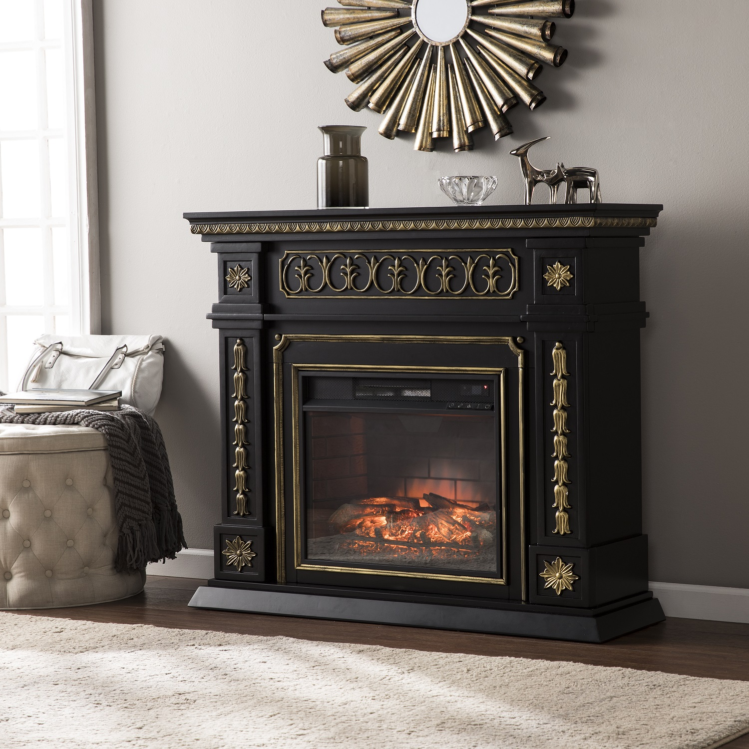 blk p real flame in freestanding fireplaces harlan fireplace grand electric black