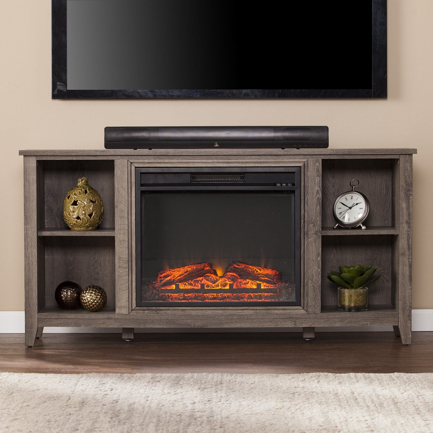 empire console tv electric media fireplace party partytime cherry stand time cheap