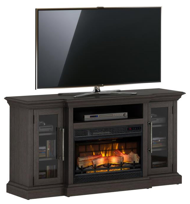 60 Granson Espresso Pine Infrared Tv Stand Electric Fireplace