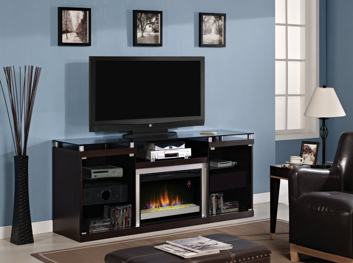 72 Albrite Espresso Entertainment Center Electric Fireplace