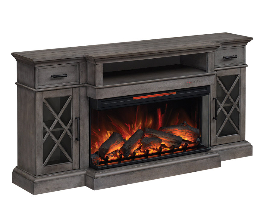 70 Hamilton Weathered Gray Tv Stand Infrared Electric Fireplace