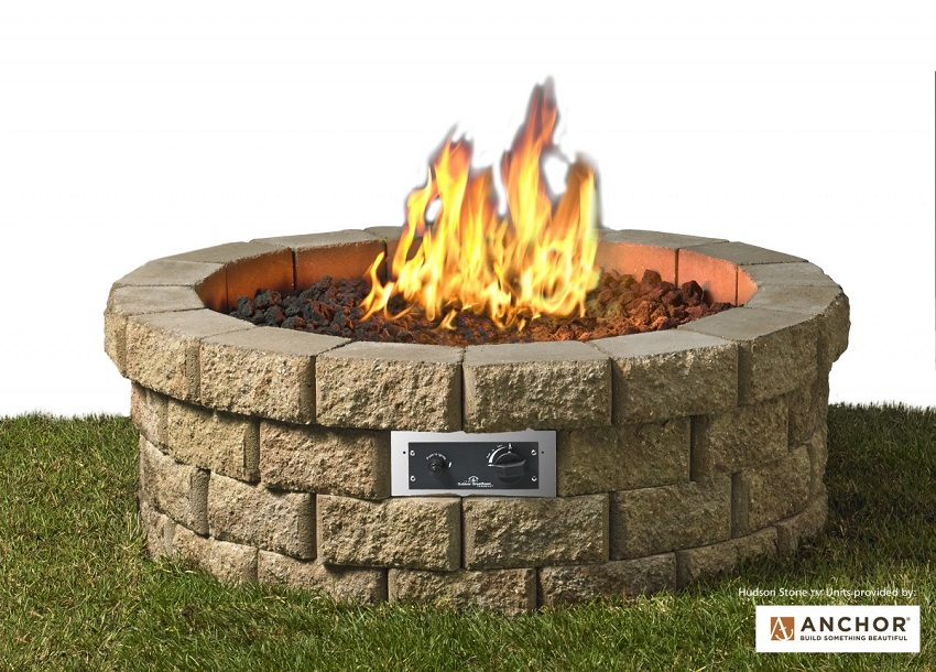 46 in DIY Hudson Stone Outdoor Fire Pit Table