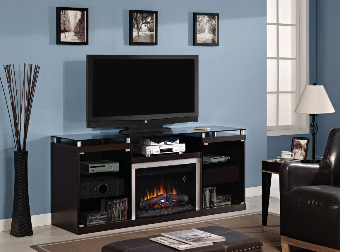 Classic flame belmont 60 quot tv stand with electric fireplace - 72 Albrite Espresso Entertainment Center Electric Fireplace