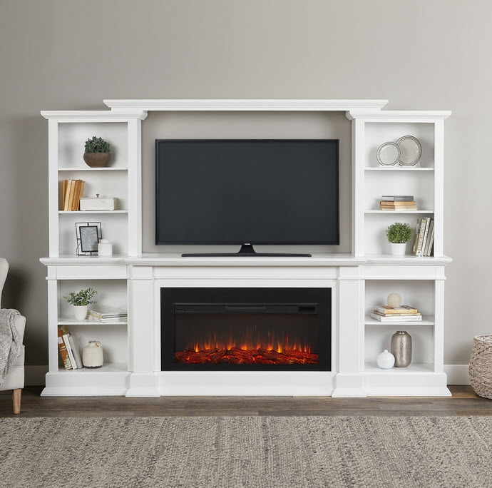 107 Monte Vista White Tv Stand Electric Fireplace