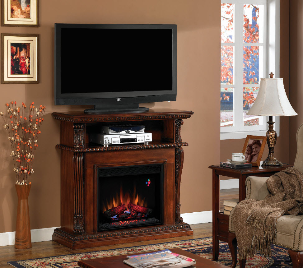 42 39 39 Corinth Vintage Cherry Entertainment Center Wall And Corner Electric Fireplace 23de1447 C233