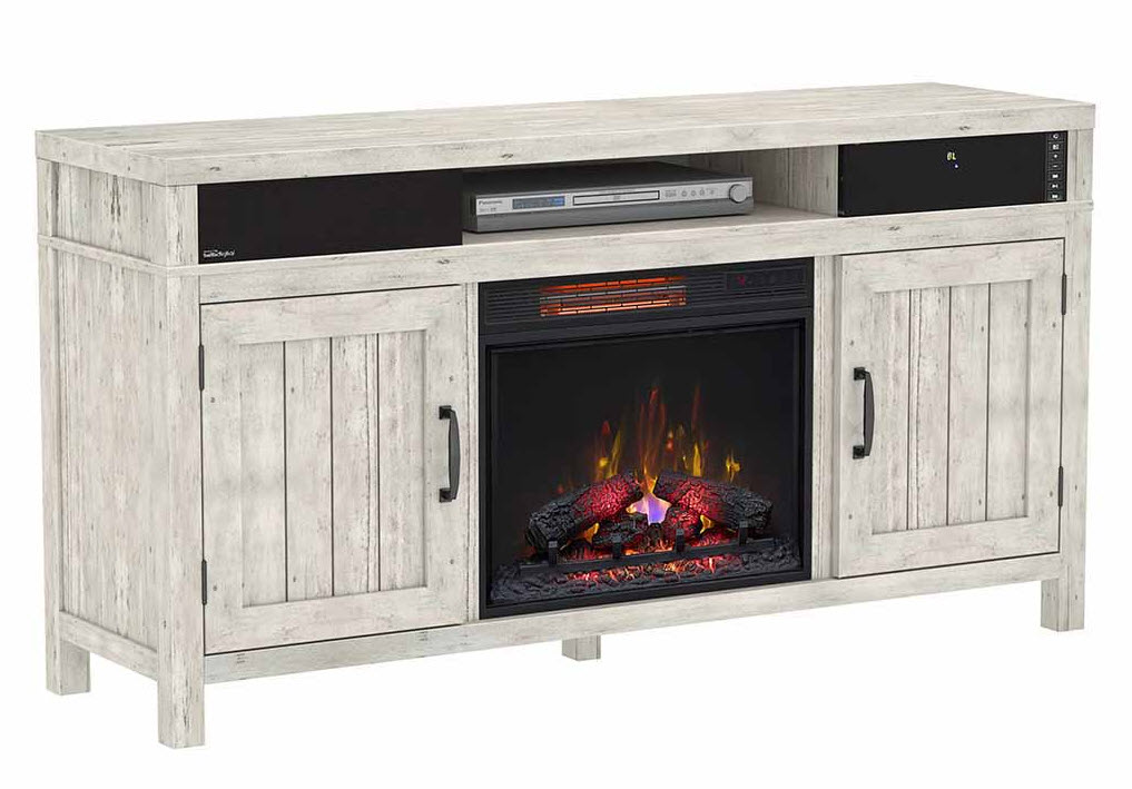63 Quot Melissa Old White Pine Infrared Tv Stand Electric