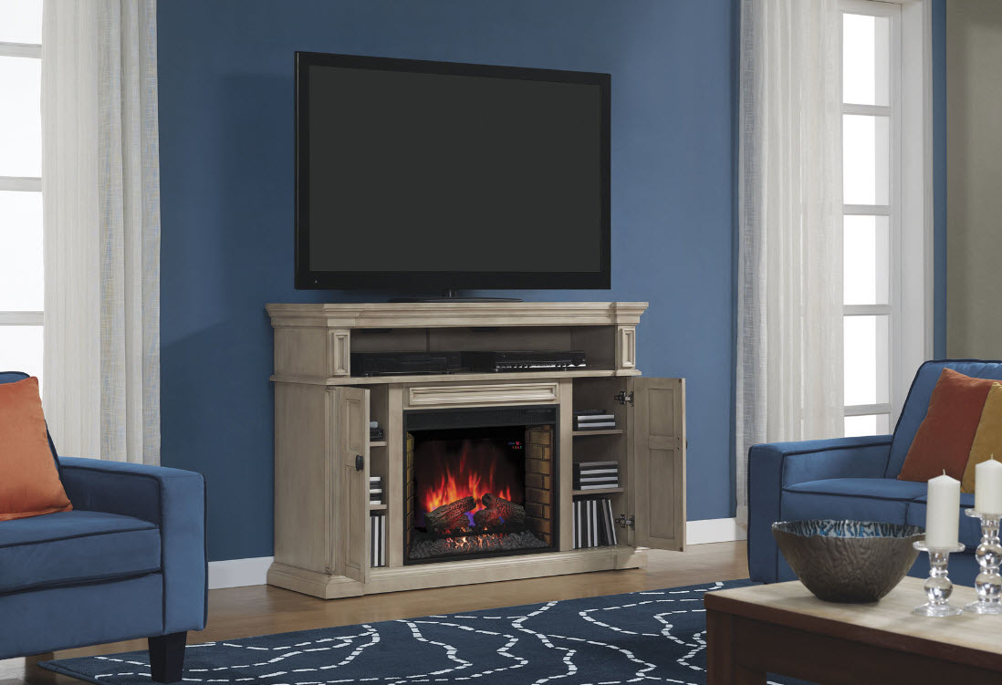 58 wyatt soft white grey media mantel electric fireplace. Black Bedroom Furniture Sets. Home Design Ideas