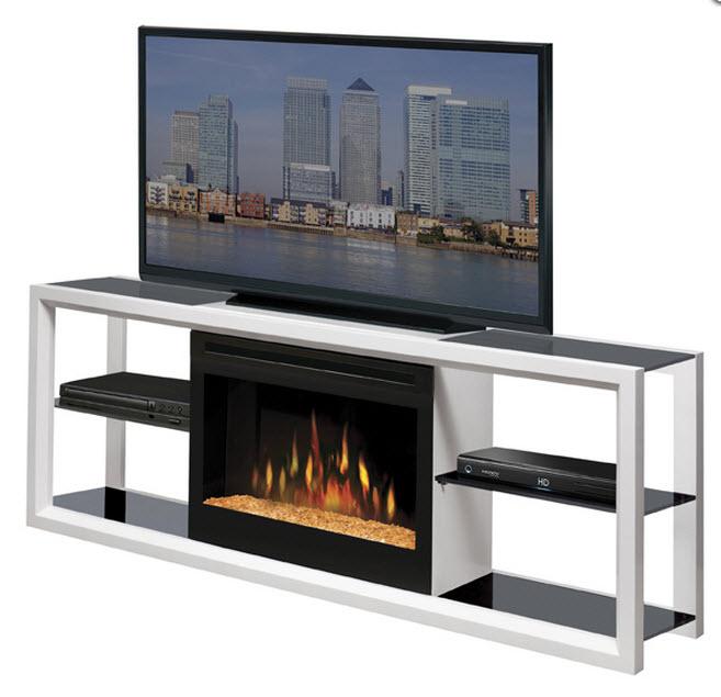 64 dimplex novara white glass entertainment center fireplace shgfp 300 w - Contemporary electric fireplaces entertainment center ...