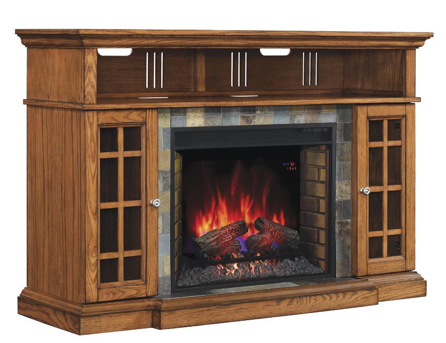 60 Lakeland Premium Oak Media Mantel Electric Fireplace