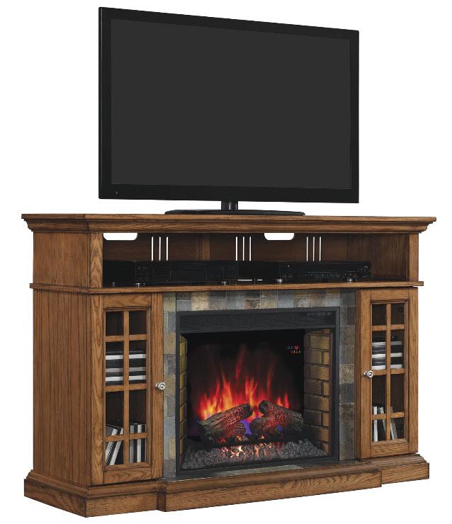 60 quot lakeland premium oak media mantel electric fireplace