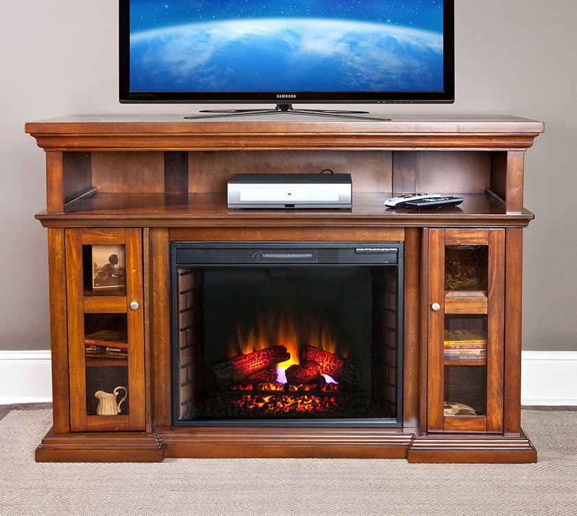 60 Pasadena Burnished Walnut Electric Fireplace Entertainment Center 28mm468 W502