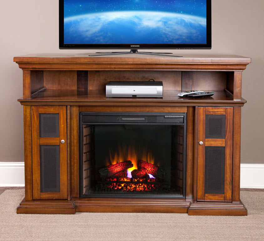 60 Quot Pasadena Burnished Walnut Electric Fireplace
