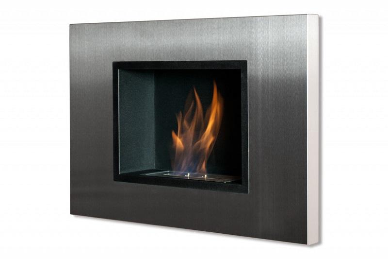 Ignis Quadra Black Recessed Ventless Ethanol Fireplace