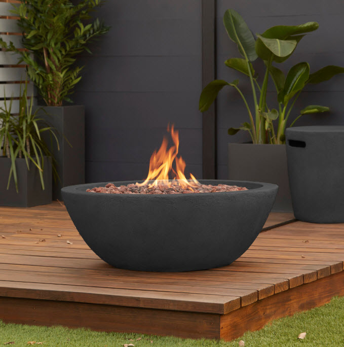 36 Riverside Outdoor Gas Fire Pit Bowl, Gas Outdoor Fire Pit