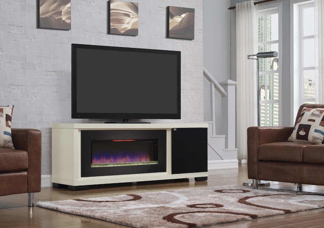 70 Brickell Infrared Antique White Media Mantel Electric
