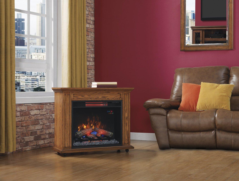 Infrared Premium Oak Rolling Mantel Electric Fireplace - Mantel electric fireplace