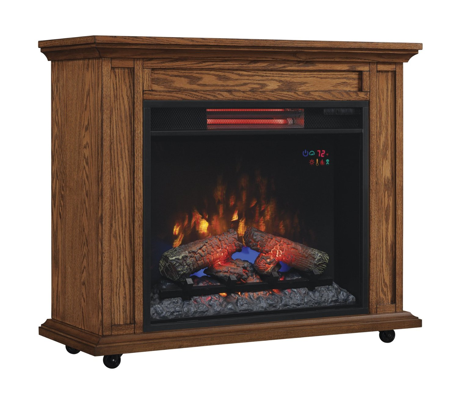 33 infrared premium oak rolling mantel electric fireplace