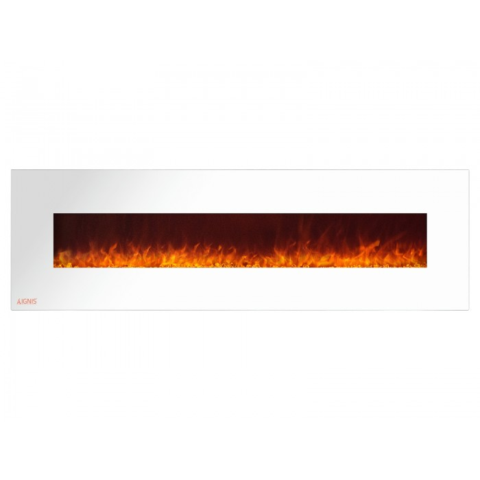 72 Ignis White Royal Electric Wall Fireplace With Crystals
