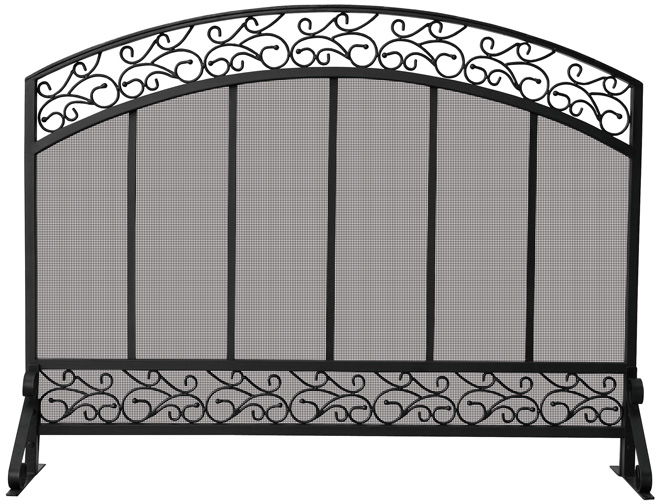 8c0882e41a6 44   Single Panel Black Wrought Iron Fireplace Screen with Hammered ...