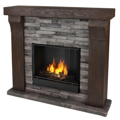 "48"" Avondale Cast Gray Ledgestone Gel Fireplace"