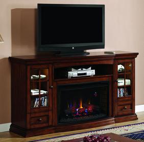 Seagate Premium Pecan Entertainment Center Electric Fireplace - Fireplace heaters electric