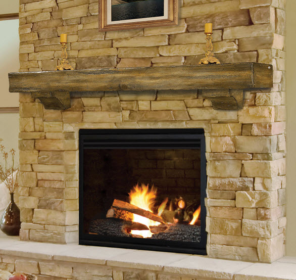 The Shenandoah Mantel Shelf is a beautiful solid hardwood shelf that is rustic in design and features corbels that accent the bottom side of the shelf.