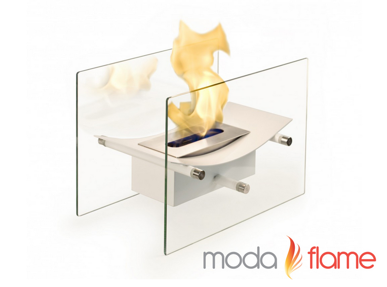 13.8 Inch Cavo White Tabletop Ventless Bio Ethanol Fireplace