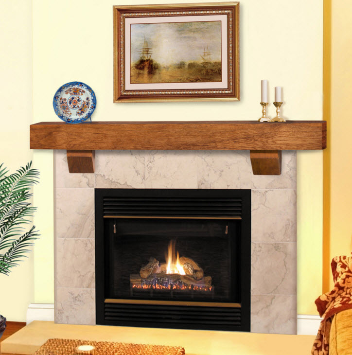 48 60 72 Heritage Wheat Finish Reclaimed Mantel Shelf wCorbels