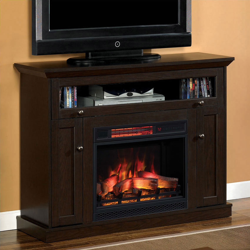 46.25u0027u0027 Windsor Oak Espresso Entertainment Center Electric Fireplace    23DE9047 PE91