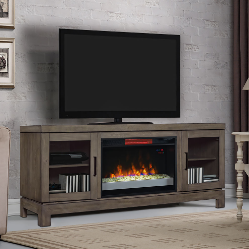 "63.5"" Berkeley Spanish Gray Infrared Media Electric Fireplace"