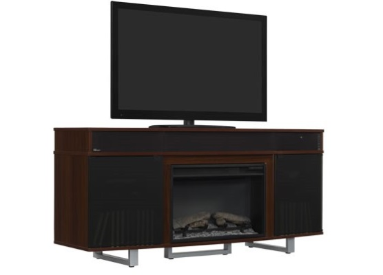 64 new enterprise cherry infrared media electric fireplace w bluetooth speakers. Black Bedroom Furniture Sets. Home Design Ideas