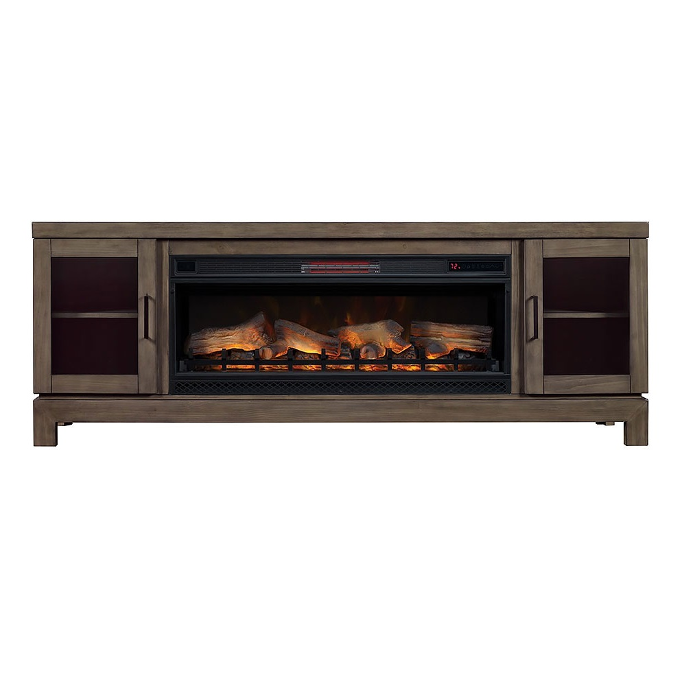 "76"" Berkeley Infrared Entertainment Center Fireplace Spanish Gray Finish"