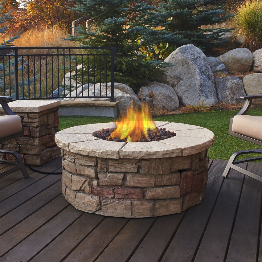 """47"""" Buff Beige Sedona Round Outdoor Fire Pit Table"""