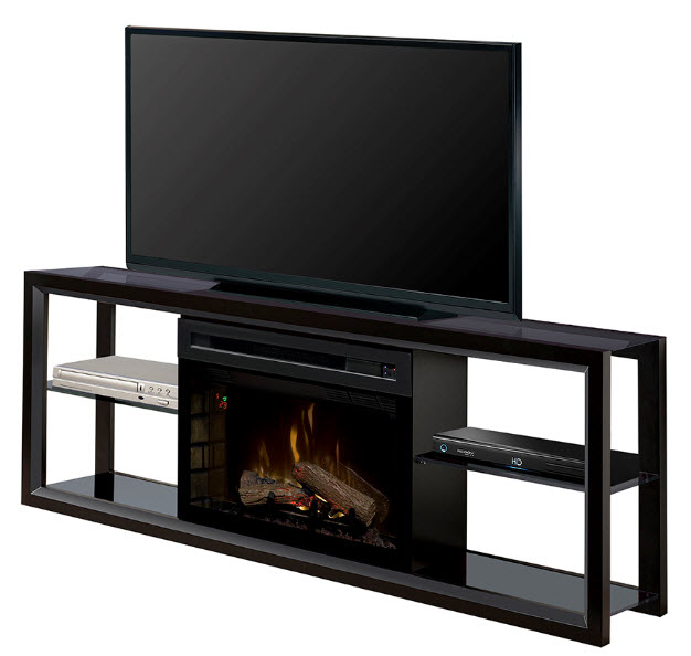 64 Dimplex Novara Black Media Console Fireplace