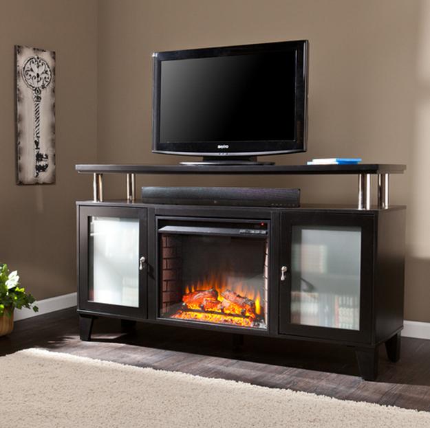 60 Cabrini Black Electric Media Fireplace Fe9348 Fi9348