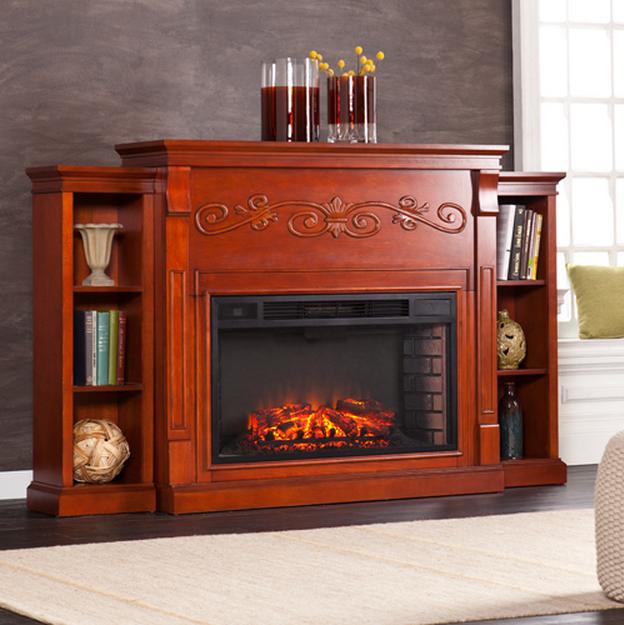 68 Locksley Bookcase Classic Mahogany Electric Fireplace Fe9016