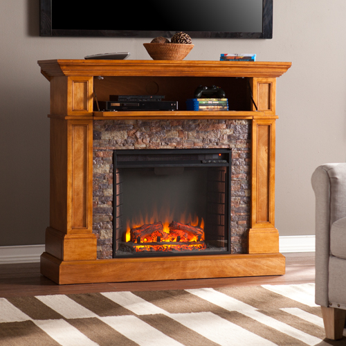 45 5 Rosedale Stone Look Convertible Electric Media Fireplace Fe9345 Fi9345