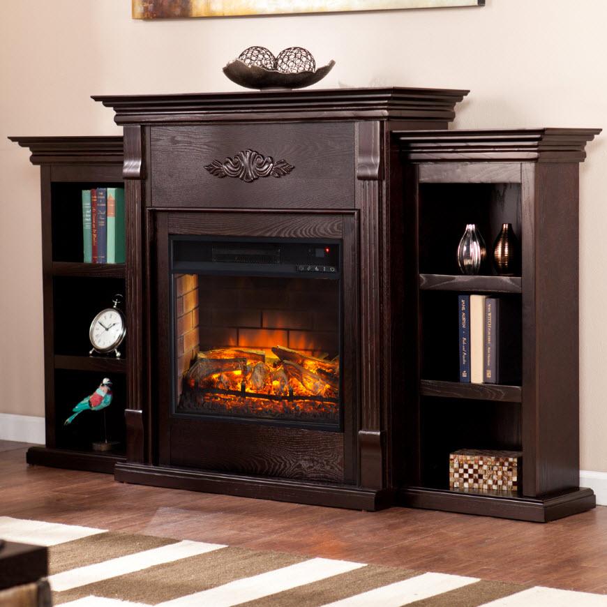 Tennyson Infrared Electric Fireplace W Bookcases Espresso Fi8545